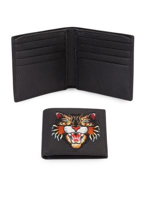 Leather Billfold Wallet with Angry Tiger
