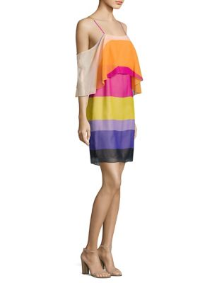 Buy Trina Turk Striped Silk Cold Shoulder Dress online with Australia wide shipping