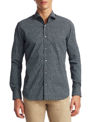 COLLECTION Ditsy Printed Cotton Button-Down Shirt