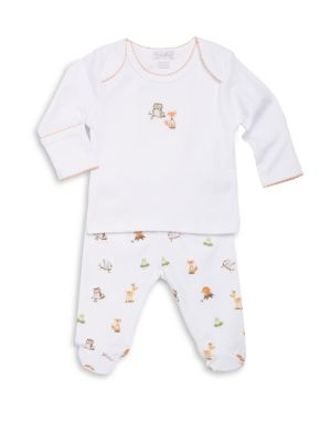 Baby's Two-Piece Wonderland Woodland-Print Pima Cotton Footed Pants Set