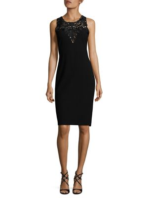 Crepe Cutwork Embroidery Sheath Dress