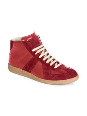 MAISON MARGIELA Calfskin & Suede Replica High Top Leather Sneakers in Navy