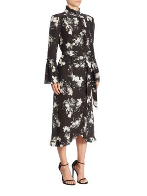 Siren Silk Midi Bell Sleeve Dress