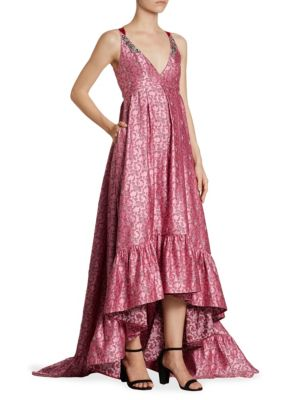 Janet Floral-Print Satin Tie-Back Gown