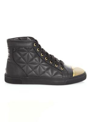 LOUIS LEEMAN Quilted Leather High-Top Sneakers