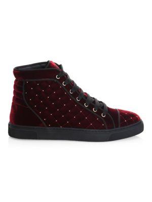 LOUIS LEEMAN Stud Quilted Velvet High-Top Sneakers