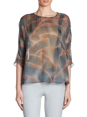 Silk Feather-Print Blouse