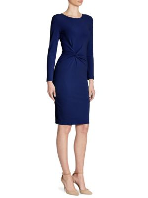 Twist-Front Pebbled Jersey Dress