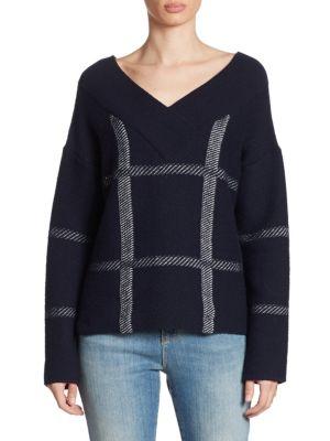 Wool-blend sweater in bold window pane pattern