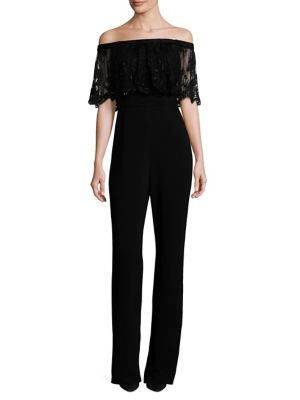 Off-The-Shoulder Lace Popover Jumpsuit