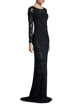Long Sleeve Embellished Gown