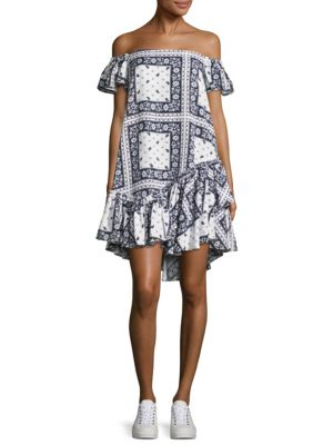 Minella Off-The-Shoulder Scarf-Print Dress