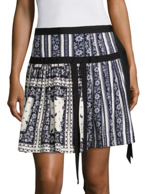 Amory Pleated Scarf-Print Silk Skirt