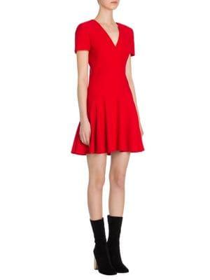 Flared Wool & Silk V-Neck Dress