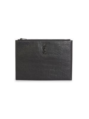 Crocodile Embossed Leather iPad Holder