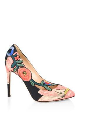 Ophelia Floral-Embroidered Printed Satin Pumps