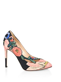 Gucci - Ophelia Floral-Embroidered Printed Satin Pumps