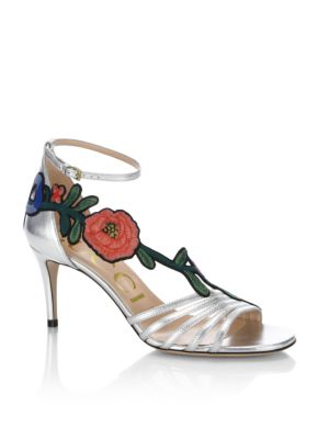 Ophelia Floral-Embroidered Metallic Leather Sandals