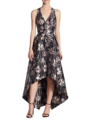 V-Neck Jacquard Hi-Lo Dress