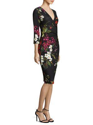 Dimolas Floral-Print Jersey Faux-Wrap Dress