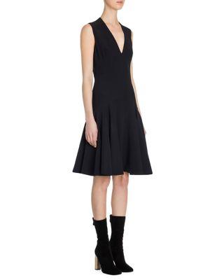 Paneled Wool & Silk V-Neck Dress