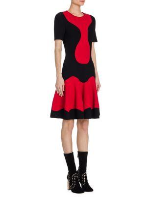 Knit Textured Jacquard Two-Tone Dress