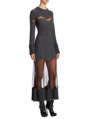Metallic Tweed Wool Dress