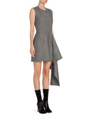 Birdseye Wool Drape-Detail Dress