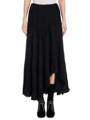 Tweed Asymmetrical Silk Skirt