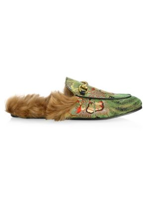 Princetown Shearling & Printed Satin Slippers