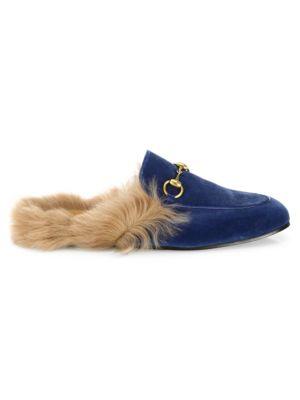 yNEKJWEmI0 Mens Princetown Fur & Velvet Slides