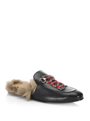 Princetown Leather & Fur Loafer Slides
