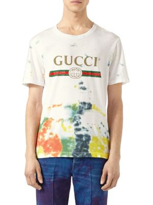 Cotton Tie-Dye T-Shirt with Guci Print