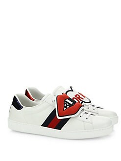Gucci - New Ace Blind For Love Leather Sneakers