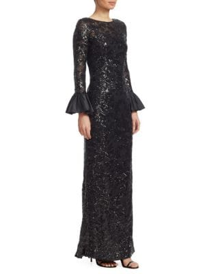 Sequined Bell Sleeve Gown