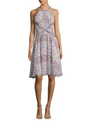 Clio Floral Print Shirred Silk Dress