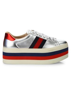 New Ace Metallic Leather Platform Sneakers