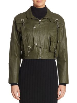 Cotton Cropped Military Jacket