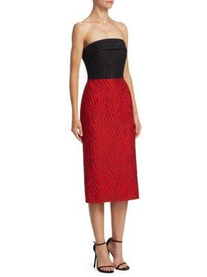 Strapless Jacquard Midi Dress