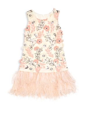 Girl's Weekend in Paris Molly Feather-Trim Sequin Flounce Dress