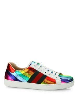 New Ace Rainbow Metallic Leather Sneakers