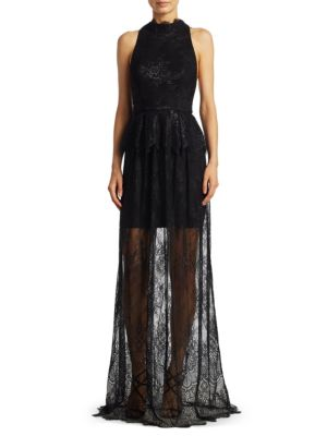 Laced Halter Floor-Length Gown