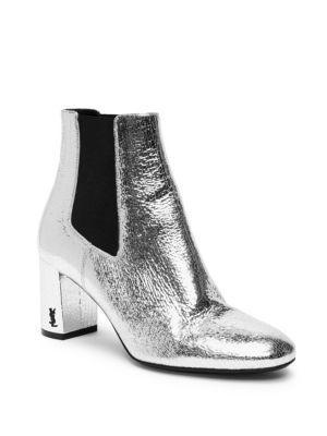 Loulou Metallic Leather Block Heel Chelsea Booties
