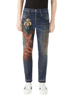 Stone-Washed Tapered Jeans with Dragon 0400094556239