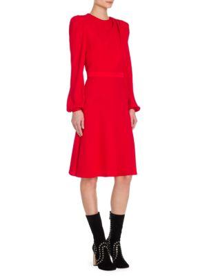 Scarf Drape Long-Sleeve Dress