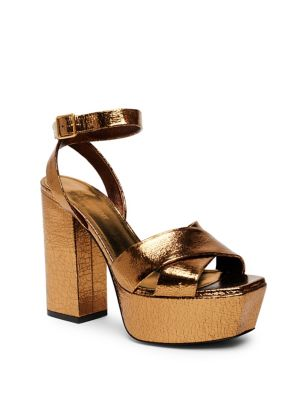 Farrah Metallic Leather Platform Ankle-Strap Sandals