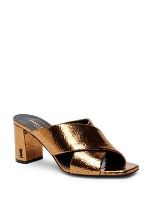 Loulou Metallic Crisscross Mules by Saint Laurent