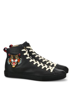 Major Tiger UFO Embroidered Leather High-Top Sneakers