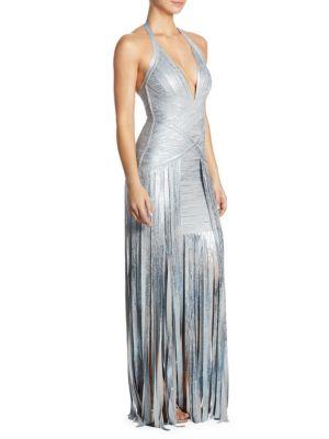 V-Neck Fringe Gown