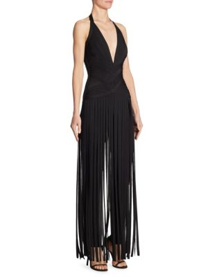 V-Neck Fringe Jumpsuit